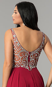 Image of long v-neck chiffon beaded-bodice a-line prom dress. Style: DQ-2216 Detail Image 2