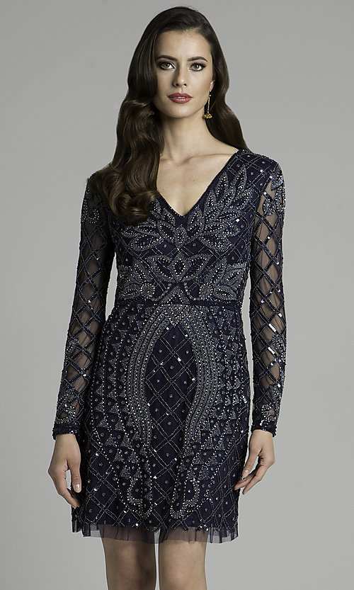 Navy Blue Long-Sleeved Homecoming Dress with Beading