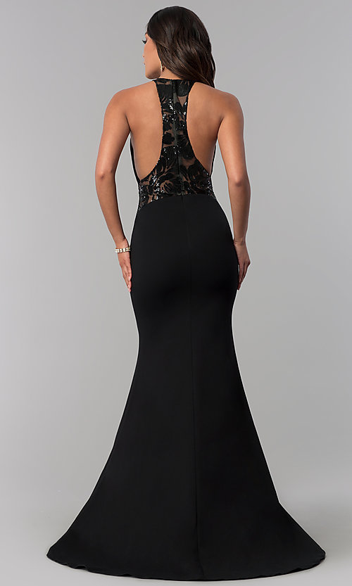 Image of long illusion-racerback prom dress by Zoey Grey. Style: ZG-31129 Back Image