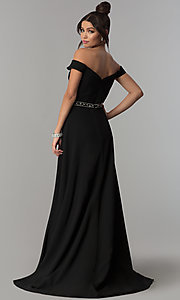 Image of off-the-shoulder midnight blue long prom dress. Style: ZG-31185 Back Image