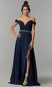 Image of off-the-shoulder midnight blue long prom dress. Style: ZG-31185 Front Image