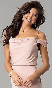 Image of off-shoulder long prom dress with draped neckline. Style: JT-641 Detail Image 2