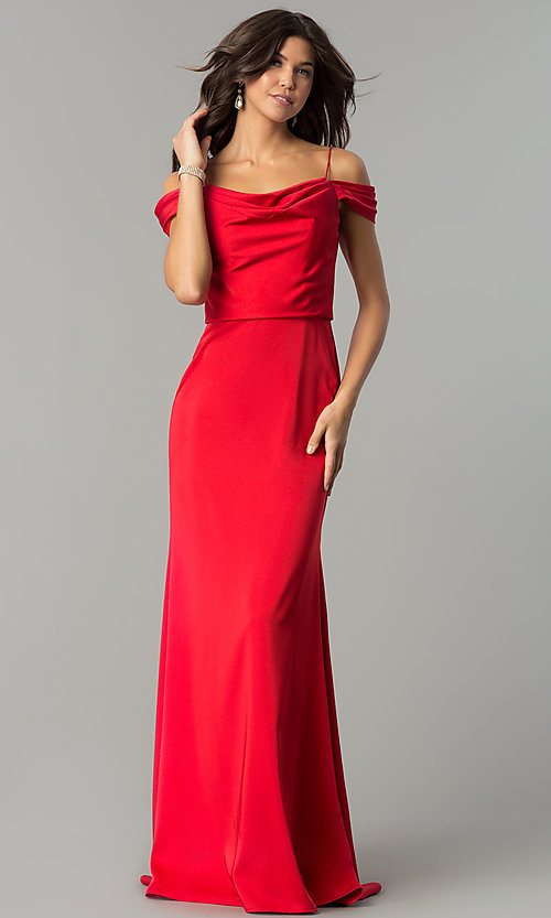 Image of off-shoulder long prom dress with draped neckline. Style: JT-641 Front Image