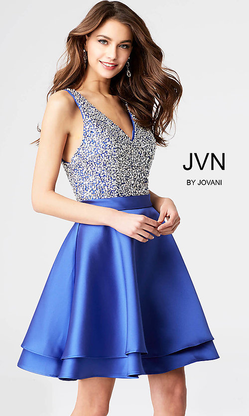 JVN by Jovani Short Fit-and-Flare Homecoming Dress