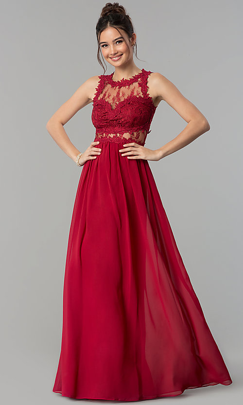 Image of long formal prom dress with lace-applique bodice. Style: LP-24603 Detail Image 3