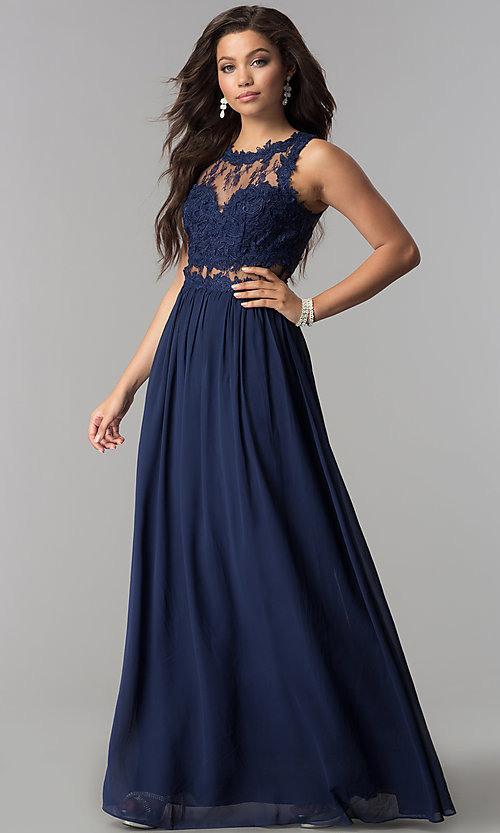 Image of long formal prom dress with lace-applique bodice. Style: LP-24603 Front Image