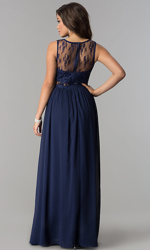 Image of long formal prom dress with lace-applique bodice. Style: LP-24603 Back Image