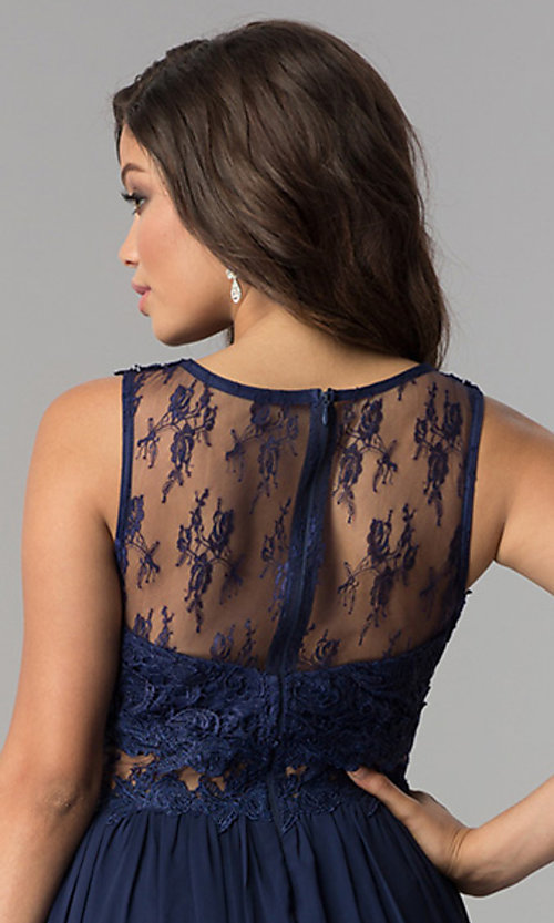 Image of long formal prom dress with lace-applique bodice. Style: LP-24603 Detail Image 2
