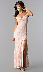 Image of long off-the-shoulder sweetheart lace prom dress. Style: LP-24500 Front Image
