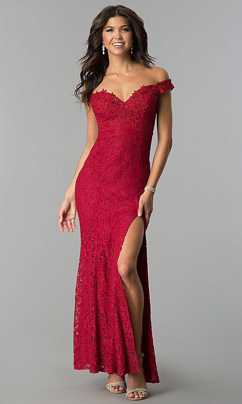 Image of long off-the-shoulder sweetheart lace prom dress. Style: LP-24500 Detail Image 1