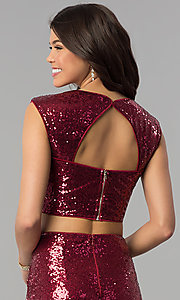 Image of sleeveless sequined two-piece mermaid prom dress. Style: LP-90176 Detail Image 2