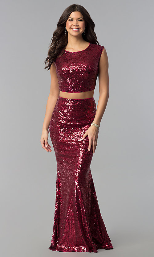 Image of sleeveless sequined two-piece mermaid prom dress. Style: LP-90176 Front Image