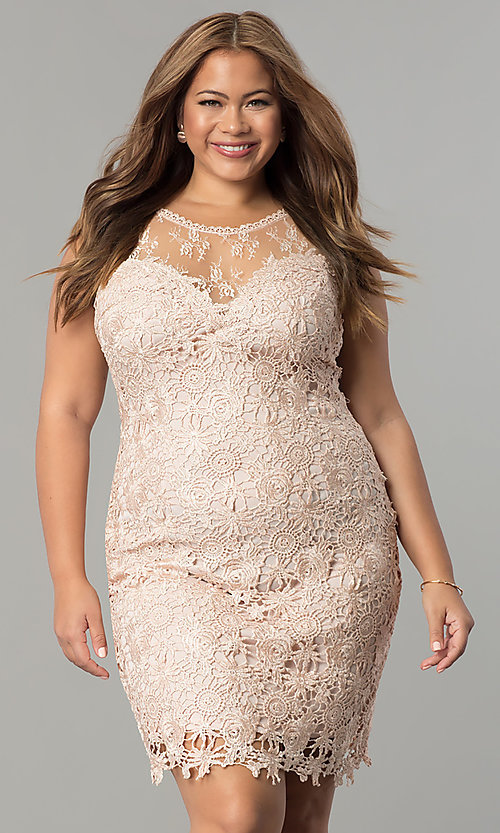 Plus-Size Short Lace Wedding-Guest Dress - PromGirl