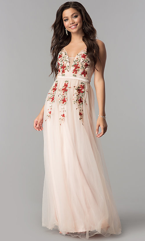 Image of floral-embroidered deep v-neck long tulle prom dress. Style: LP-24865 Detail Image 2