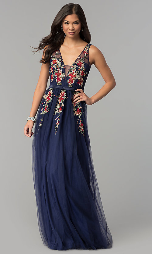 Image of floral-embroidered deep v-neck long tulle prom dress. Style: LP-24865 Detail Image 3