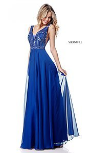 Image of open-back Sherri Hill long formal prom dress. Style: SH-51874 Detail Image 3