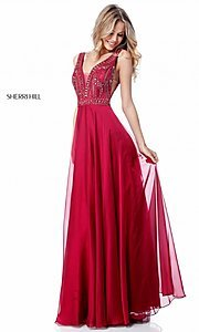 Image of open-back Sherri Hill long formal prom dress. Style: SH-51874 Detail Image 1