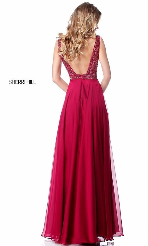 Image of open-back Sherri Hill long formal prom dress. Style: SH-51874 Back Image