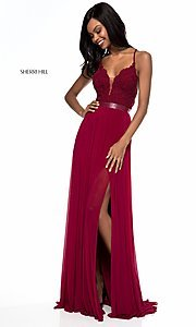 Image of long open-back Sherri Hill prom dress with lace. Style: SH-52034 Detail Image 2