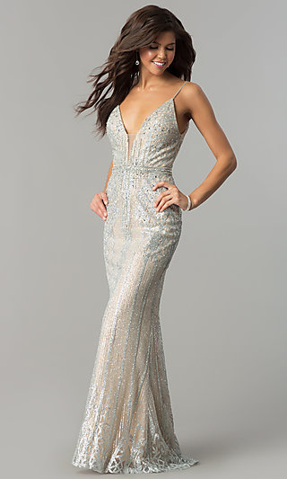 Long V-Neck Prom Dress with Glitter and Rhinestones