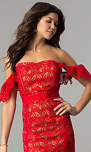 Image of short red lace off-the-shoulder holiday party dress. Style: AC-DA23953B Detail Image 1