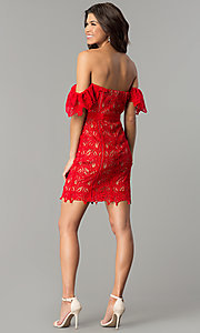 Image of short red lace off-the-shoulder holiday party dress. Style: AC-DA23953B Detail Image 3