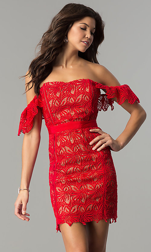 Image of short red lace off-the-shoulder holiday party dress. Style: AC-DA23953B Front Image