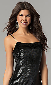 Image of velvet short black holiday party mini dress. Style: AC-DH24118A Detail Image 1