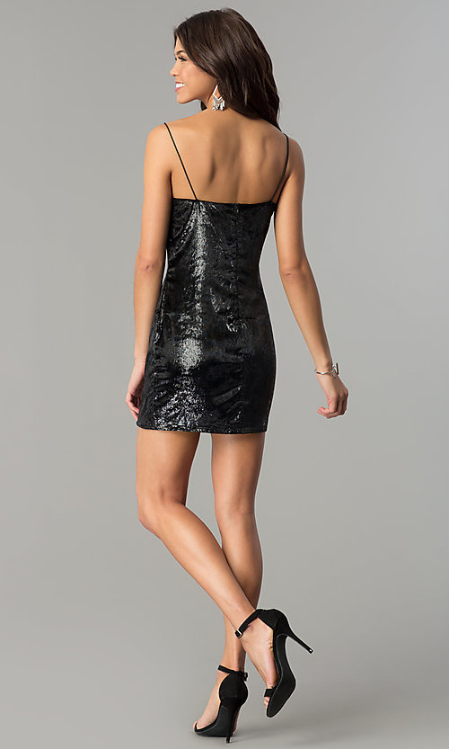 Image of velvet short black holiday party mini dress. Style: AC-DH24118A Detail Image 3