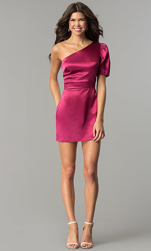 Image of semi-formal designer magenta pink party dress. Style: AC-DH24128A Detail Image 2