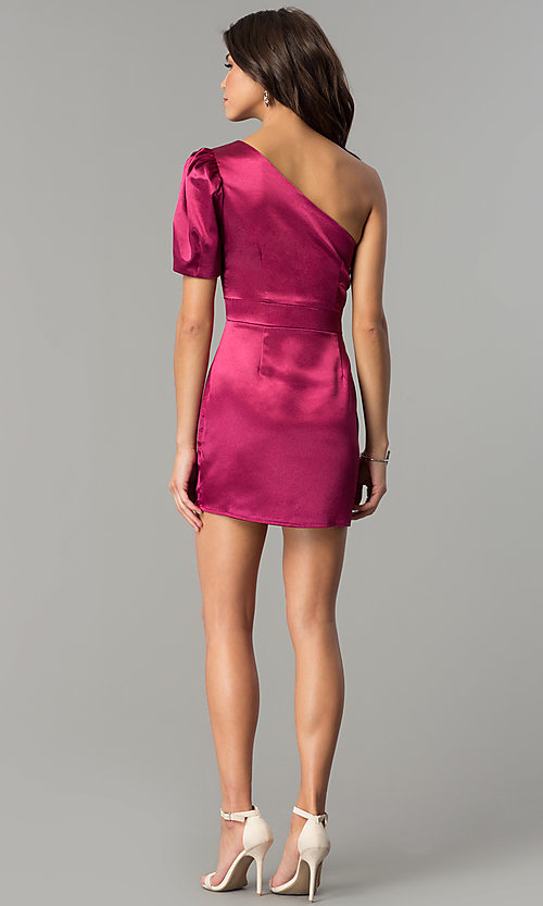 Image of semi-formal designer magenta pink party dress. Style: AC-DH24128A Detail Image 3