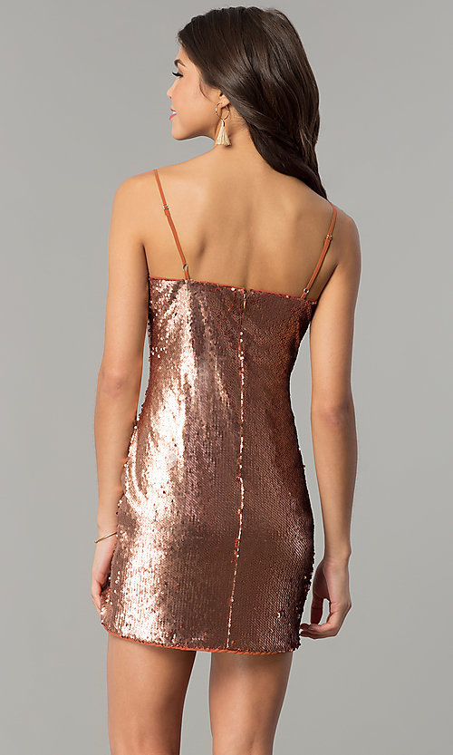 Image of designer bronze gold reversible-sequin party dress. Style: AC-DH24140A Back Image