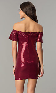 Image of removable-strap short burgundy sequin party dress. Style: AS-a6495898 Back Image