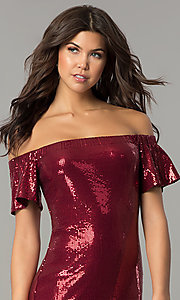 Image of removable-strap short burgundy sequin party dress. Style: AS-a6495898 Detail Image 1
