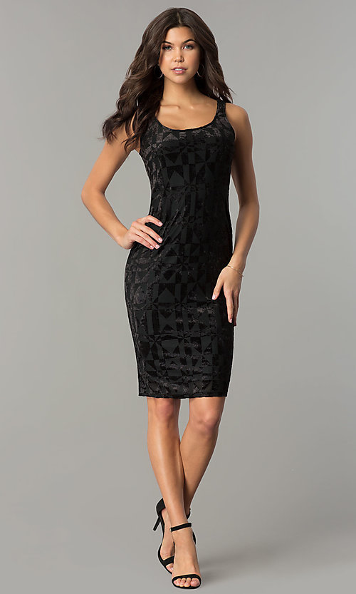 Image of velvet-print knee-length holiday party dress. Style: AS-47086961 Detail Image 1