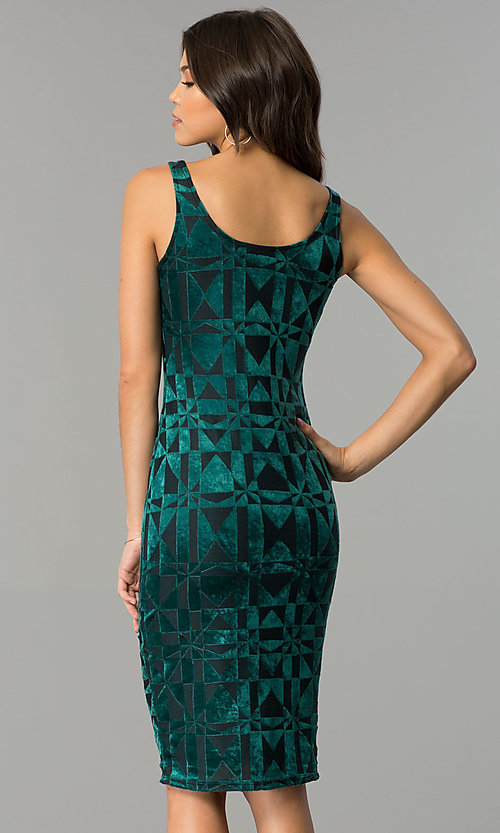Image of velvet-print knee-length holiday party dress. Style: AS-47086961 Back Image