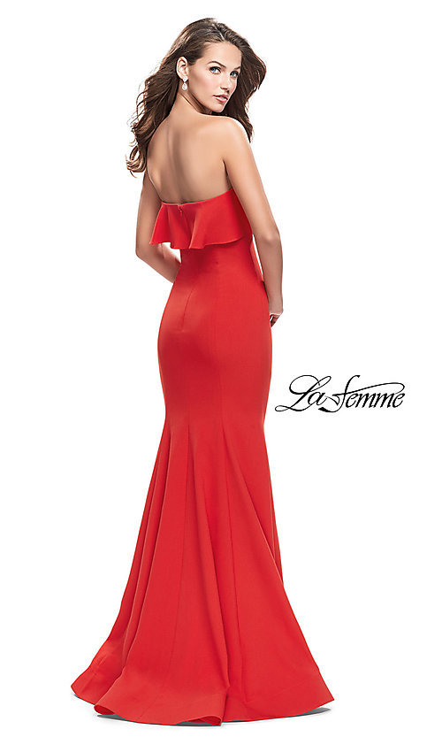 Image of long strapless La Femme prom dress.  Style: LF-25419 Back Image