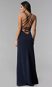 Image of strappy-open-back high-neck prom dress by La Femme. Style: LF-25439 Front Image