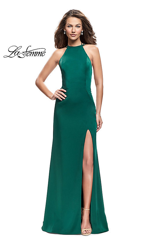 Image of strappy-open-back high-neck prom dress by La Femme. Style: LF-25439 Detail Image 3
