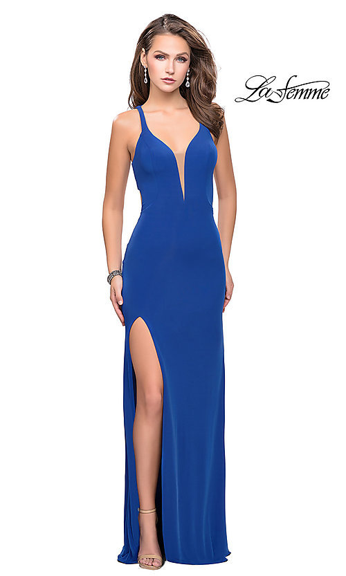 Image of La Femme v-neck prom dress with back cut outs. Style: LF-25504 Detail Image 2