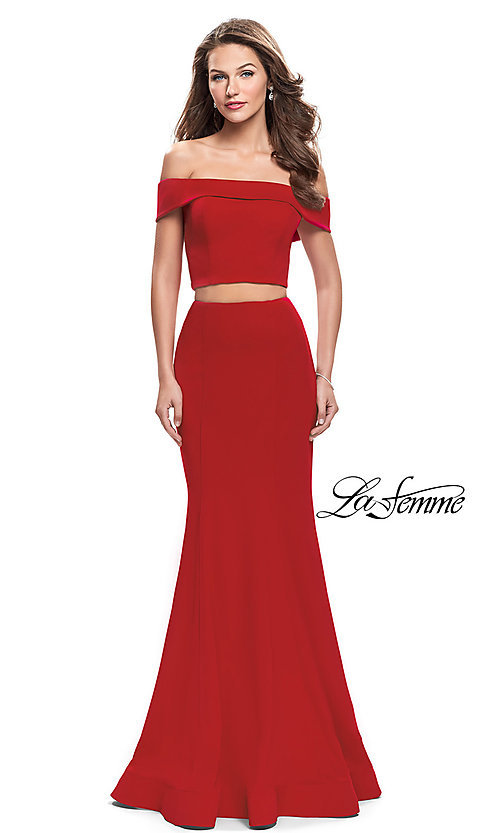 Image of off-the-shoulder two-piece prom dress by La Femme. Style: LF-25578 Front Image