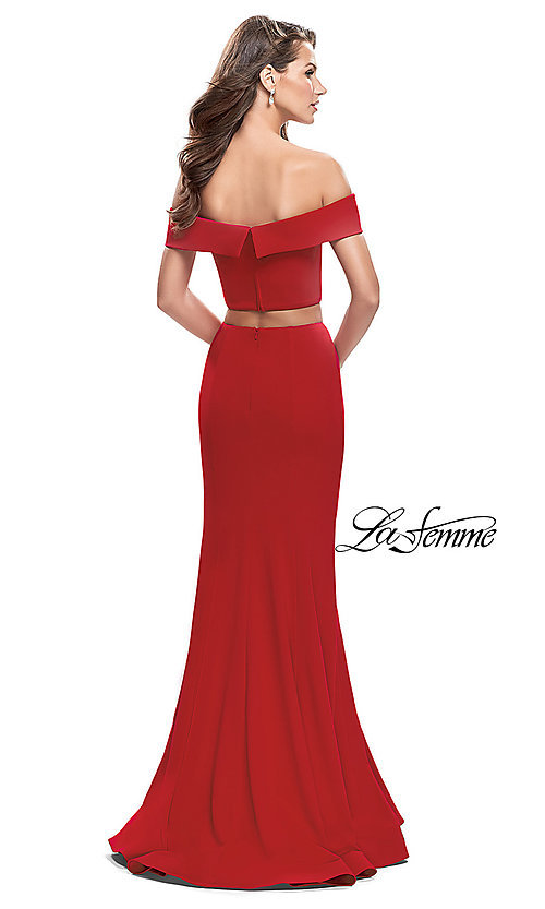 Image of off-the-shoulder two-piece prom dress by La Femme. Style: LF-25578 Back Image