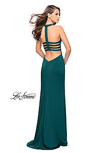 Image of La Femme long v-neck prom dress with strappy open back. Style: LF-25612 Front Image