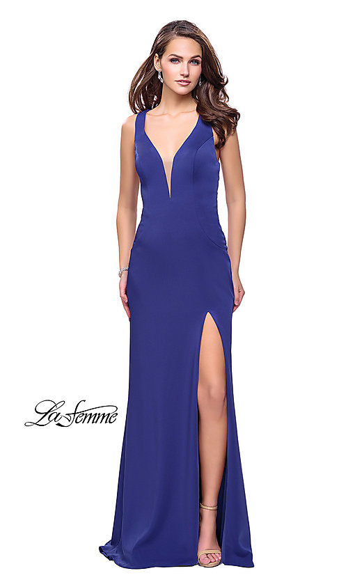 Image of La Femme long v-neck prom dress with strappy open back. Style: LF-25612 Detail Image 2