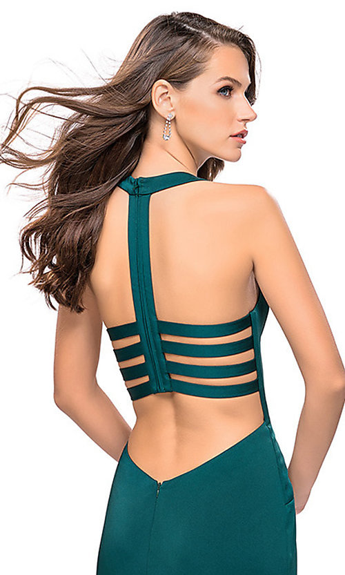 Image of La Femme long v-neck prom dress with strappy open back. Style: LF-25612 Detail Image 1