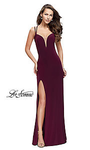 Image of strappy-open-back long prom dress by La Femme. Style: LF-25648 Detail Image 1