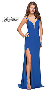 Image of strappy-open-back long prom dress by La Femme. Style: LF-25648 Front Image