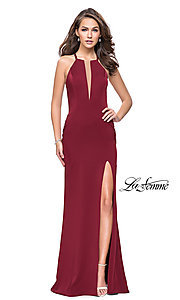 Image of high-neck La Femme prom dress with beaded back.  Style: LF-25669 Front Image