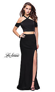 Image of cold-shoulder long two-piece La Femme prom dress. Style: LF-25846 Detail Image 1