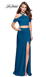 Image of cold-shoulder long two-piece La Femme prom dress. Style: LF-25846 Front Image
